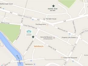 Map showing location of Bath Yoga Studio